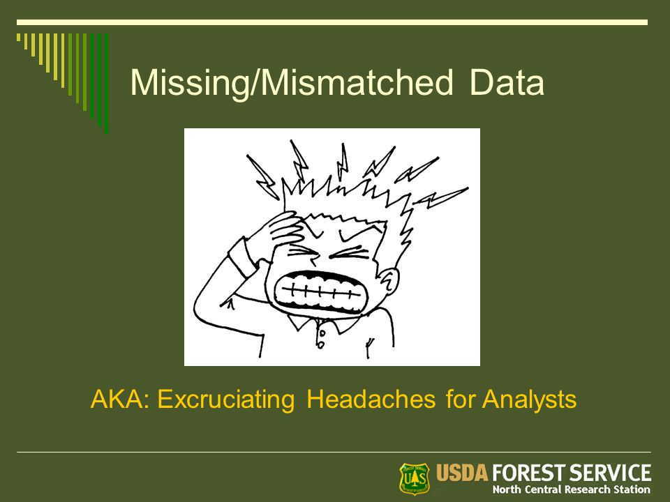 Missing/Mismatched Data AKA: Excruciating Headaches for Analysts