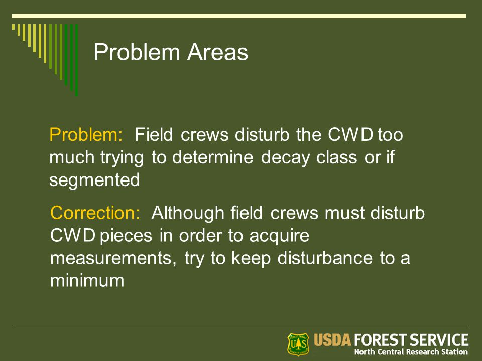Problem Areas Problem: Field crews disturb the CWD too much trying to determine decay class or if segmented Correction: Although field crews must disturb CWD pieces in order to acquire measurements, try to keep disturbance to a minimum