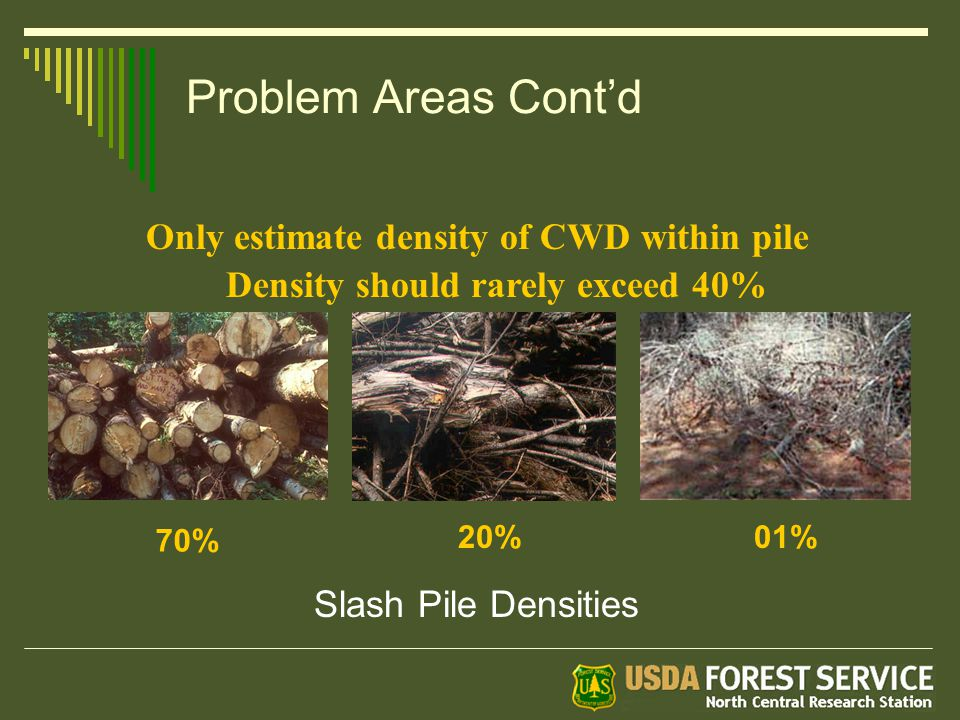 Problem Areas Cont'd Only estimate density of CWD within pile Density should rarely exceed 40% 70% 20%01% Slash Pile Densities