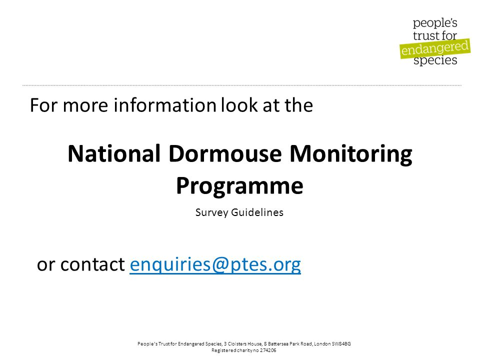 People's Trust for Endangered Species, 3 Cloisters House, 8 Battersea Park Road, London SW84BG Registered charity no 274206 National Dormouse Monitoring Programme For more information look at the Survey Guidelines or contact enquiries@ptes.org