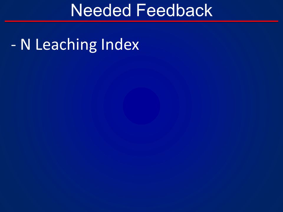 Needed Feedback - N Leaching Index