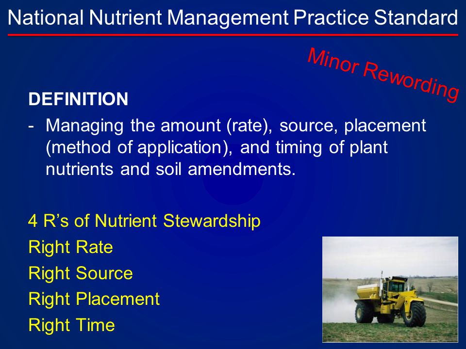 National Nutrient Management Practice Standard DEFINITION -Managing the amount (rate), source, placement (method of application), and timing of plant nutrients and soil amendments.