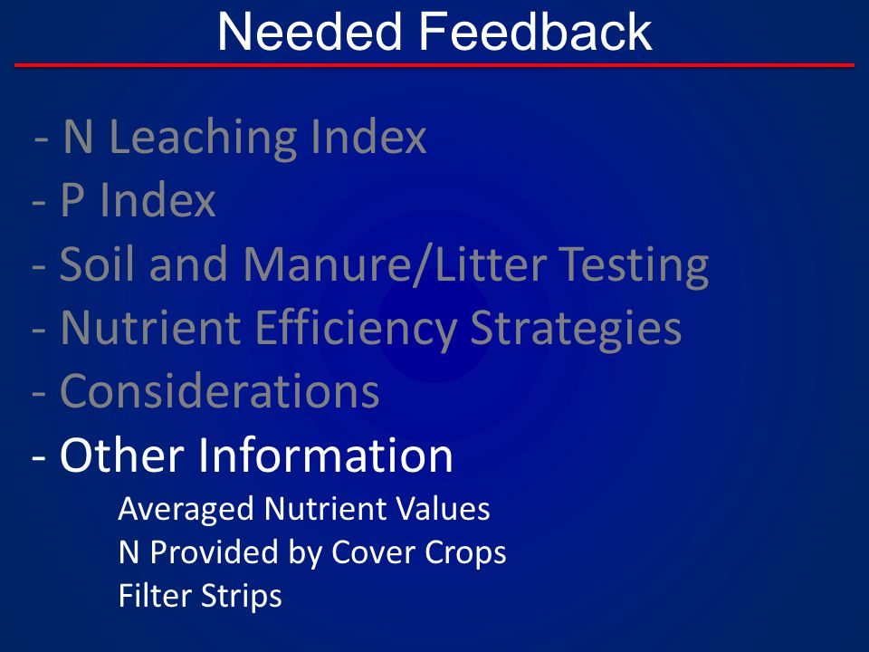 Needed Feedback - N Leaching Index - P Index - Soil and Manure/Litter Testing - Nutrient Efficiency Strategies - Considerations - Other Information Averaged Nutrient Values N Provided by Cover Crops Filter Strips