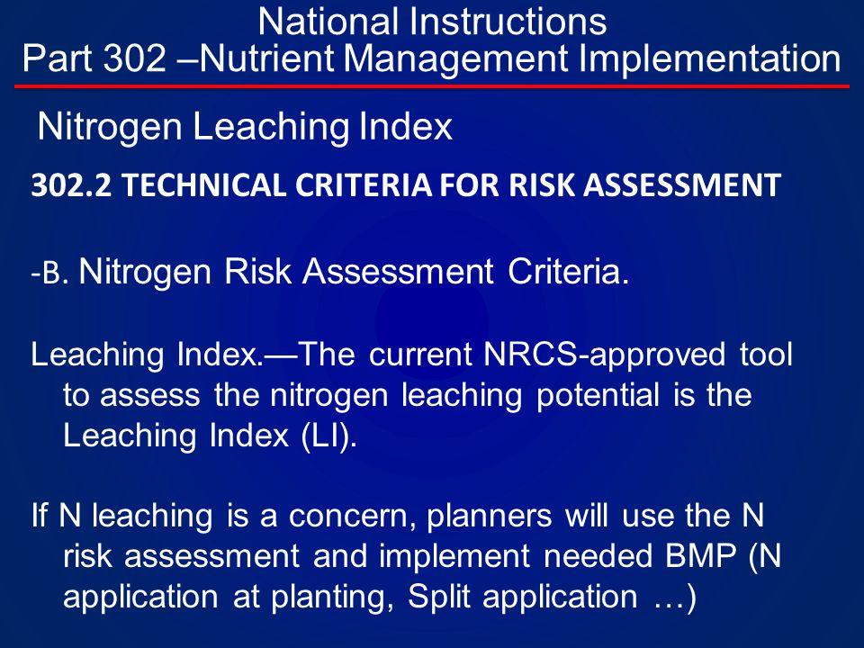 302.2 TECHNICAL CRITERIA FOR RISK ASSESSMENT -B. Nitrogen Risk Assessment Criteria.