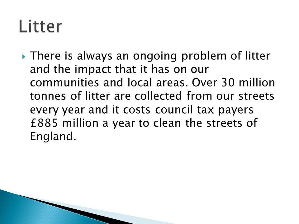  There is always an ongoing problem of litter and the impact that it has on our communities and local areas.