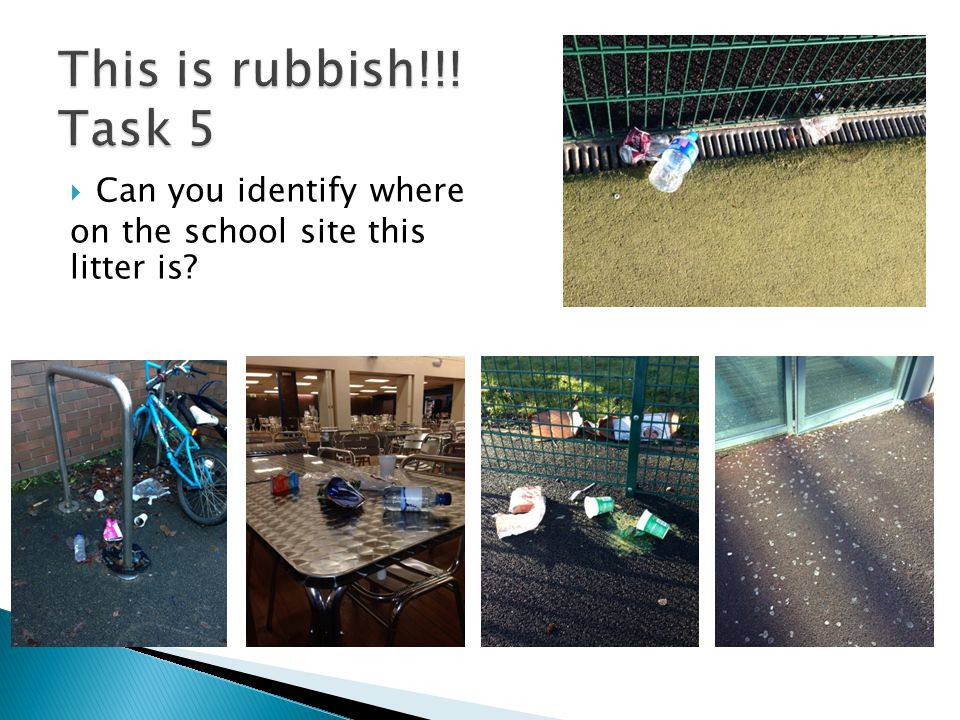  Can you identify where on the school site this litter is?