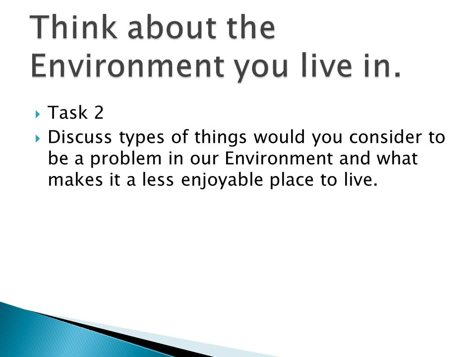  Task 2  Discuss types of things would you consider to be a problem in our Environment and what makes it a less enjoyable place to live.