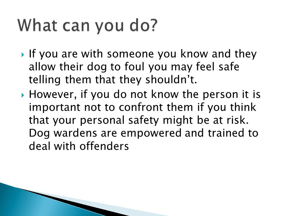  If you are with someone you know and they allow their dog to foul you may feel safe telling them that they shouldn't.