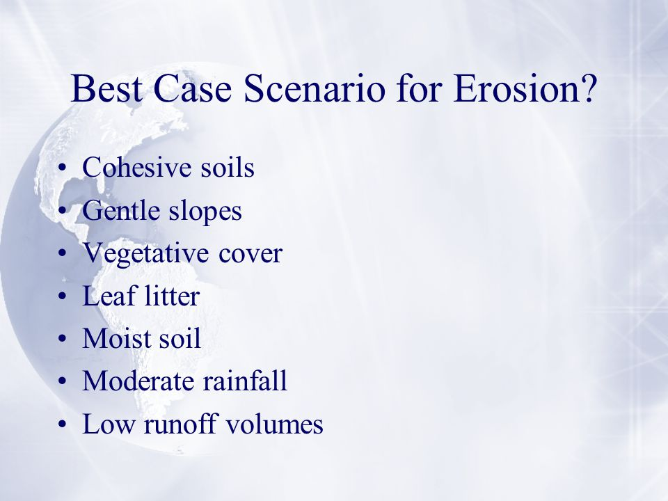 Best Case Scenario for Erosion.