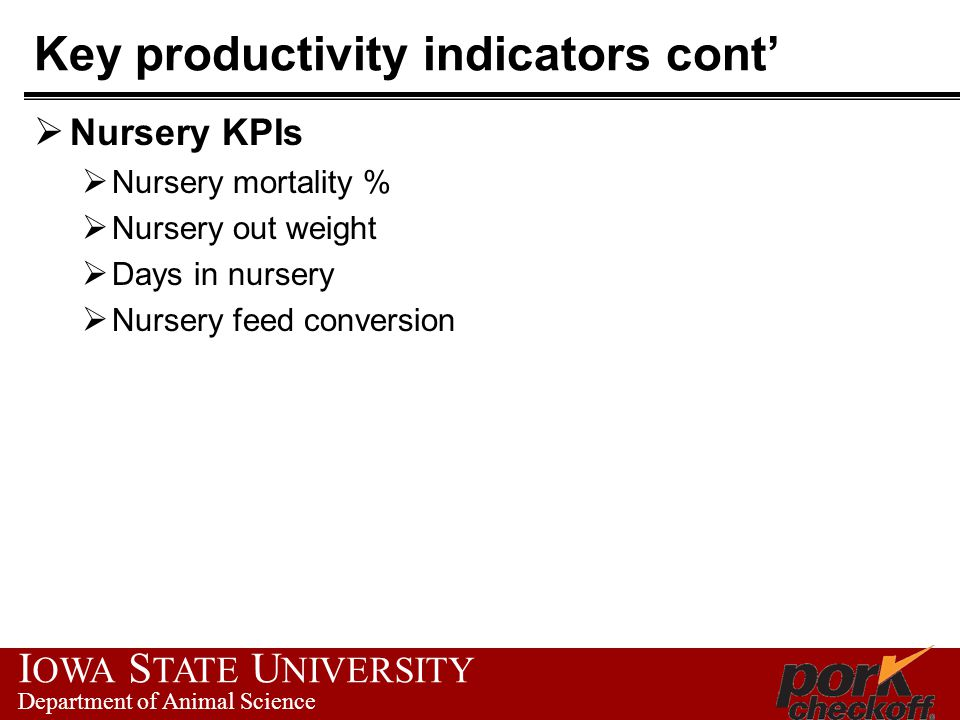 I OWA S TATE U NIVERSITY Department of Animal Science Key productivity indicators cont'  Nursery KPIs  Nursery mortality %  Nursery out weight  Days in nursery  Nursery feed conversion