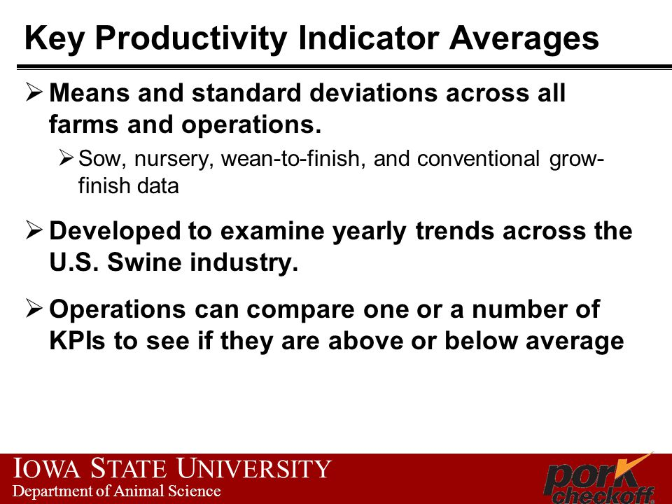 I OWA S TATE U NIVERSITY Department of Animal Science Key Productivity Indicator Averages  Means and standard deviations across all farms and operati