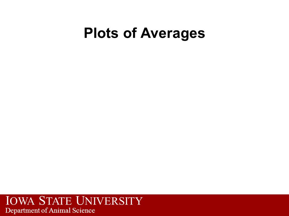 I OWA S TATE U NIVERSITY Department of Animal Science Plots of Averages