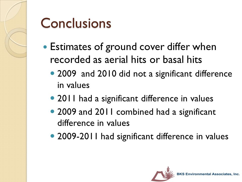 Conclusions Estimates of ground cover differ when recorded as aerial hits or basal hits 2009 and 2010 did not a significant difference in values 2011