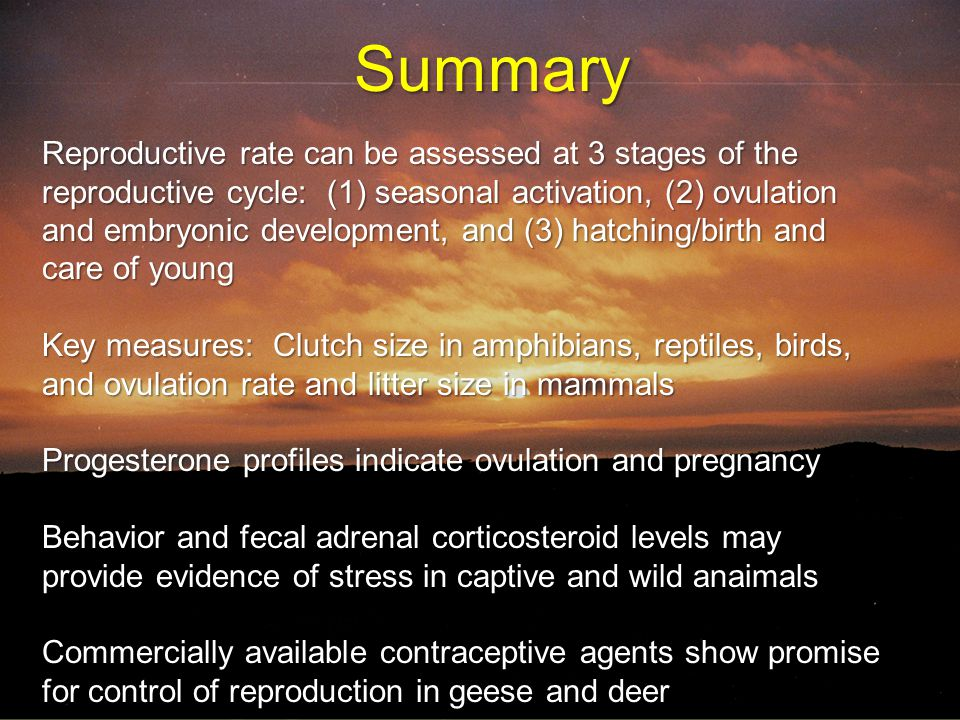 Summary  Reproductive rate can be assessed at three stages of the reproductive cycle : (1) seasonal activation, (2) ovulation and embryonic developme
