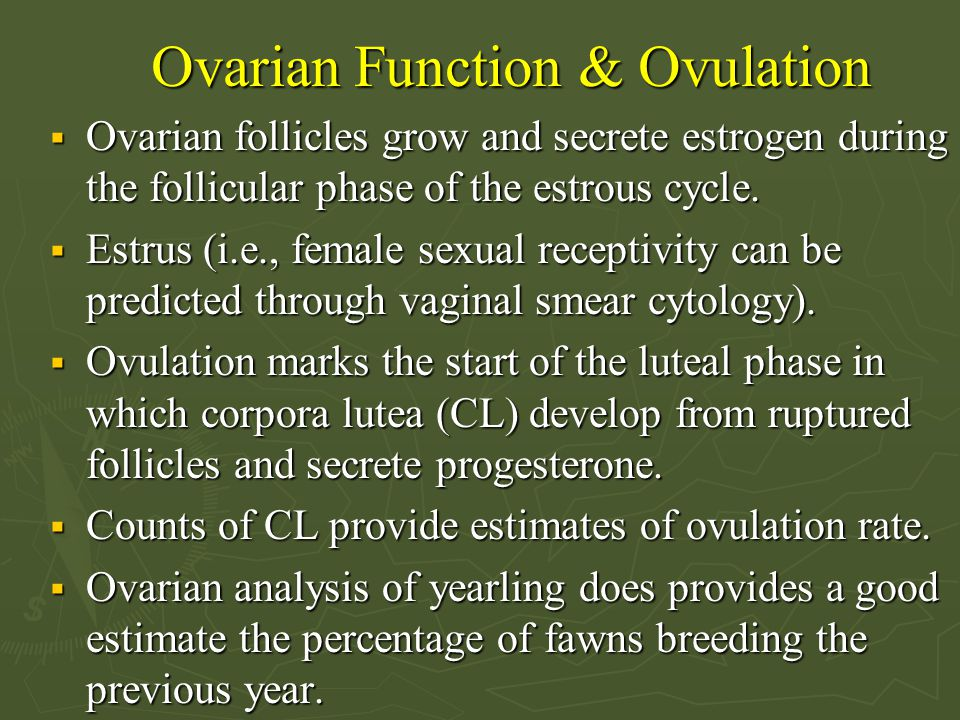 Summary  Reproductive rate can be assessed at three stages of the reproductive cycle : (1) seasonal activation, (2) ovulation and embryonic development, and (3) hatching/birth and care of young   Key measures: Clutch size in amphibians, reptiles, birds and ovulation rate and litter size in mammals  Progesterone profiles indicate ovulation and pregnancy   Behavior and fecal adrenal corticosteroid levels may provide evidence of stress in captive and wild animals   Commercially available contraceptive agents show promise for control of reproduction in geese and deer.