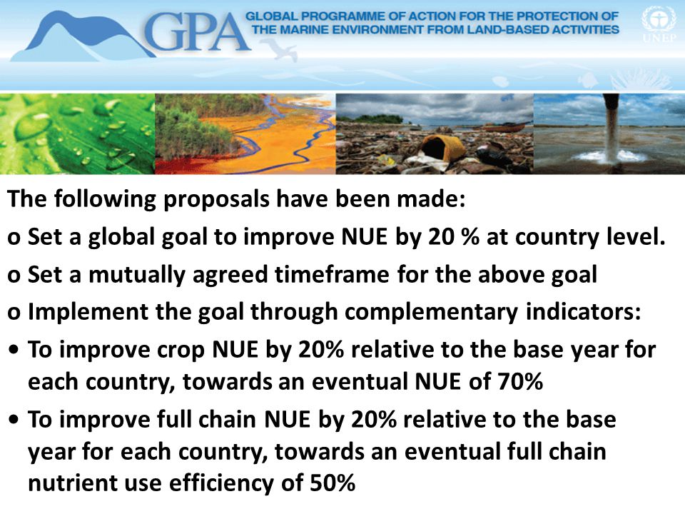 The following proposals have been made: oSet a global goal to improve NUE by 20 % at country level. oSet a mutually agreed timeframe for the above goa