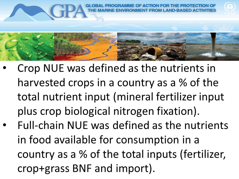 Crop NUE was defined as the nutrients in harvested crops in a country as a % of the total nutrient input (mineral fertilizer input plus crop biologica