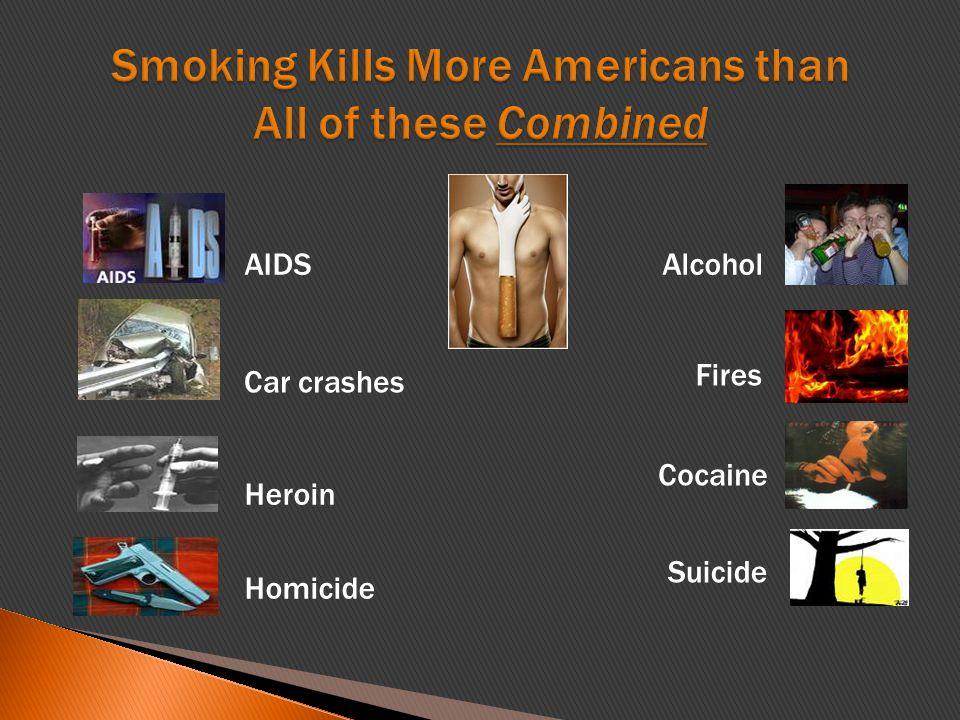 AIDS Car crashes Heroin Homicide Alcohol Fires Cocaine Suicide