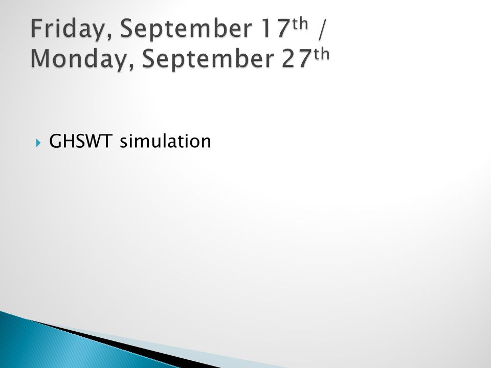  GHSWT simulation