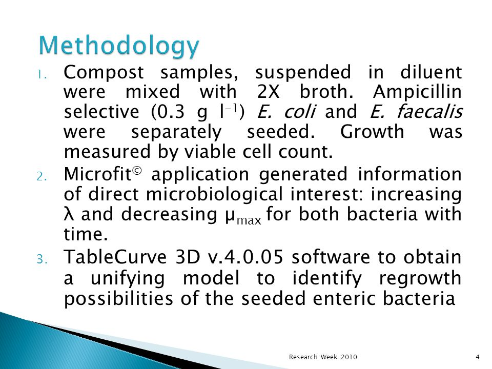  By using, the maximum specific growth rate (µ max ), a kinetic parameters of bacterial multiplication rate under submerged culture,  deduce = the indigenous microbial community developed during composting is responsible for enteric microflora deactivation.