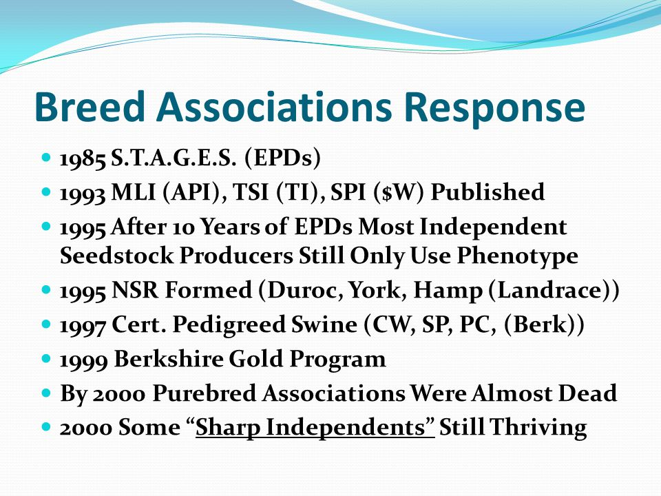 Breed Associations Response 1985 S.T.A.G.E.S.