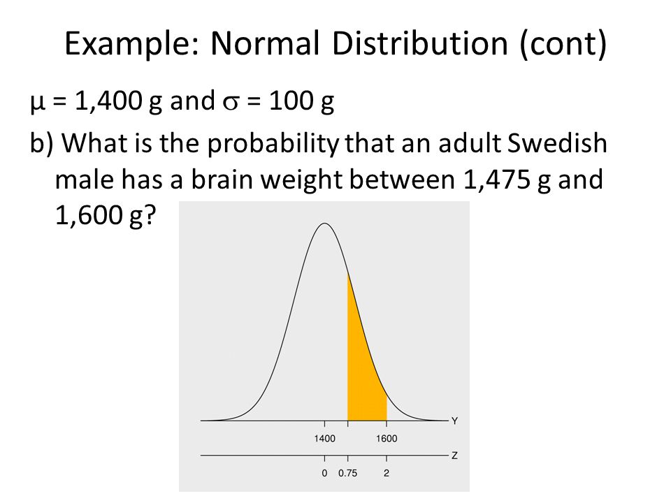 Example: Normal Distribution (cont) μ = 1,400 g and  = 100 g b) What is the probability that an adult Swedish male has a brain weight between 1,475 g and 1,600 g?