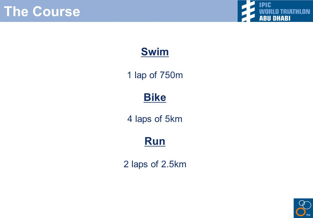 The Course Swim 1 lap of 750m Bike 4 laps of 5km Run 2 laps of 2.5km