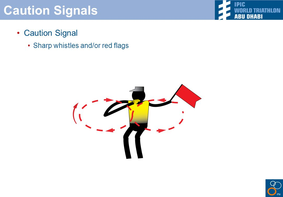 Caution Signals Caution Signal Sharp whistles and/or red flags