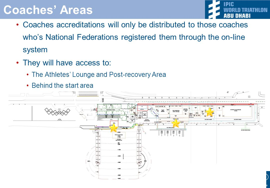 Coaches' Areas Coaches accreditations will only be distributed to those coaches who's National Federations registered them through the on-line system They will have access to: The Athletes' Lounge and Post-recovery Area Behind the start area Sea side media lane / swim exit