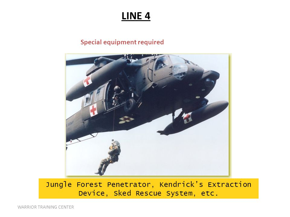WARRIOR TRAINING CENTER Special equipment required Jungle Forest Penetrator, Kendrick's Extraction Device, Sked Rescue System, etc.