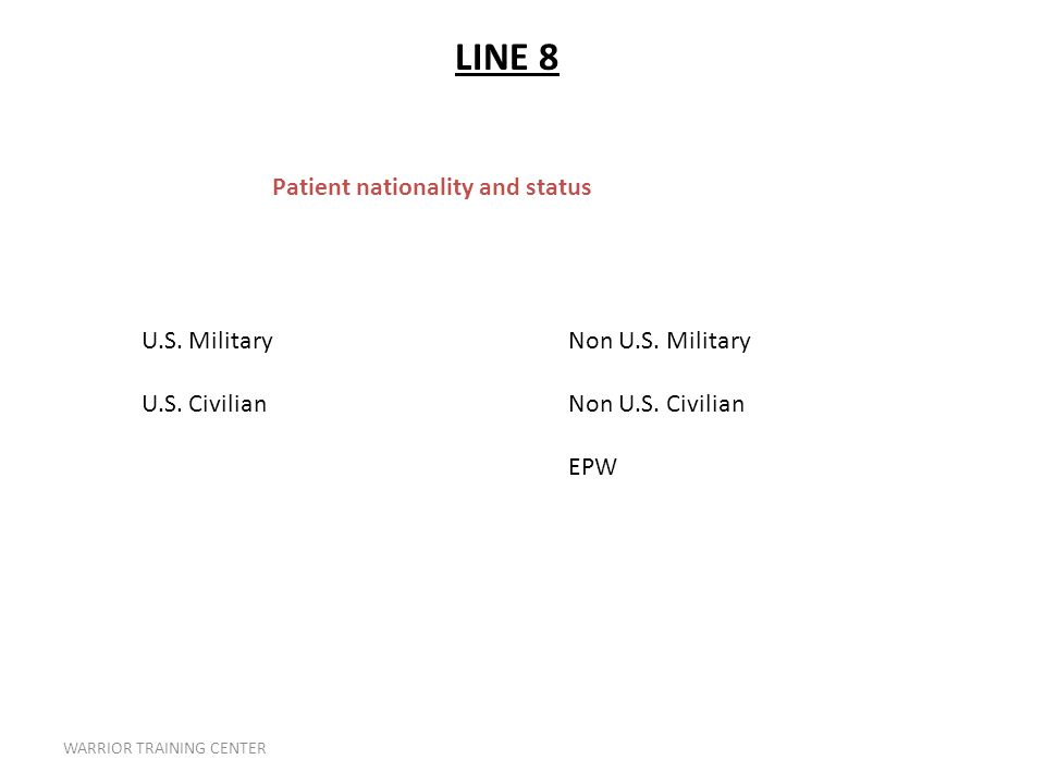 WARRIOR TRAINING CENTER Patient nationality and status U.S.