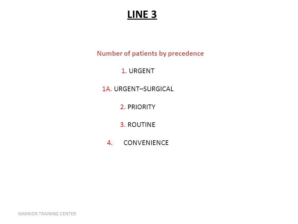 WARRIOR TRAINING CENTER Number of patients by precedence 1.