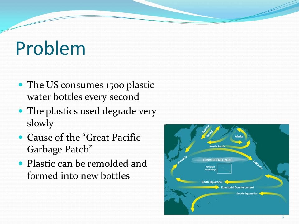 Problem The US consumes 1500 plastic water bottles every second The plastics used degrade very slowly Cause of the Great Pacific Garbage Patch Plastic can be remolded and formed into new bottles 2