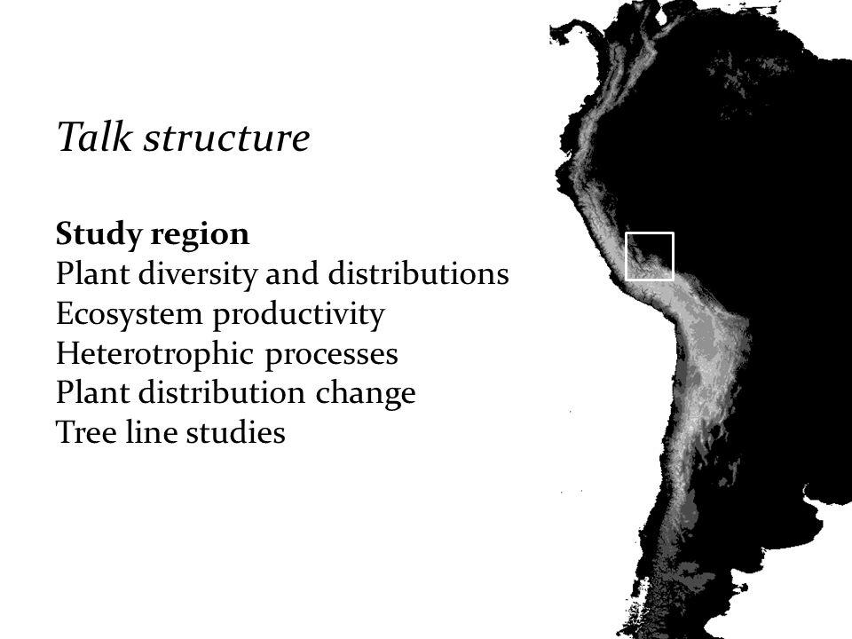 Talk structure Study region Plant diversity and distributions Ecosystem productivity Heterotrophic processes Plant distribution change Tree line studi