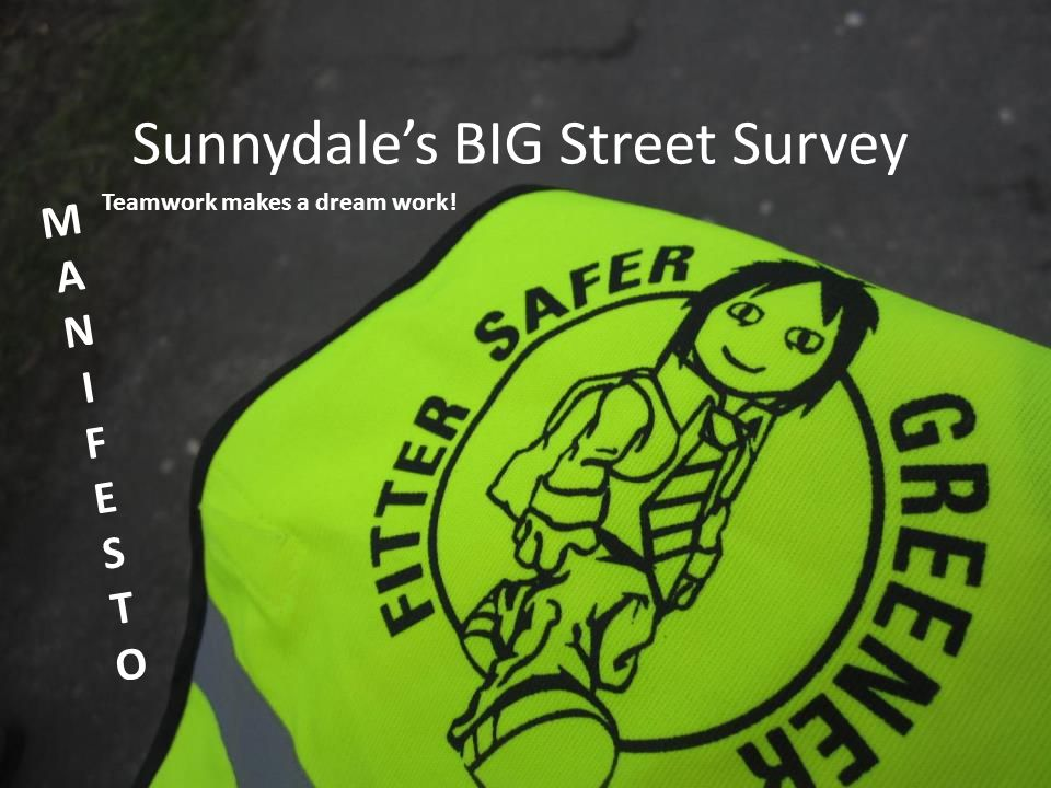 Sunnydale's BIG Street Survey MANIFESTOMANIFESTO Teamwork makes a dream work!