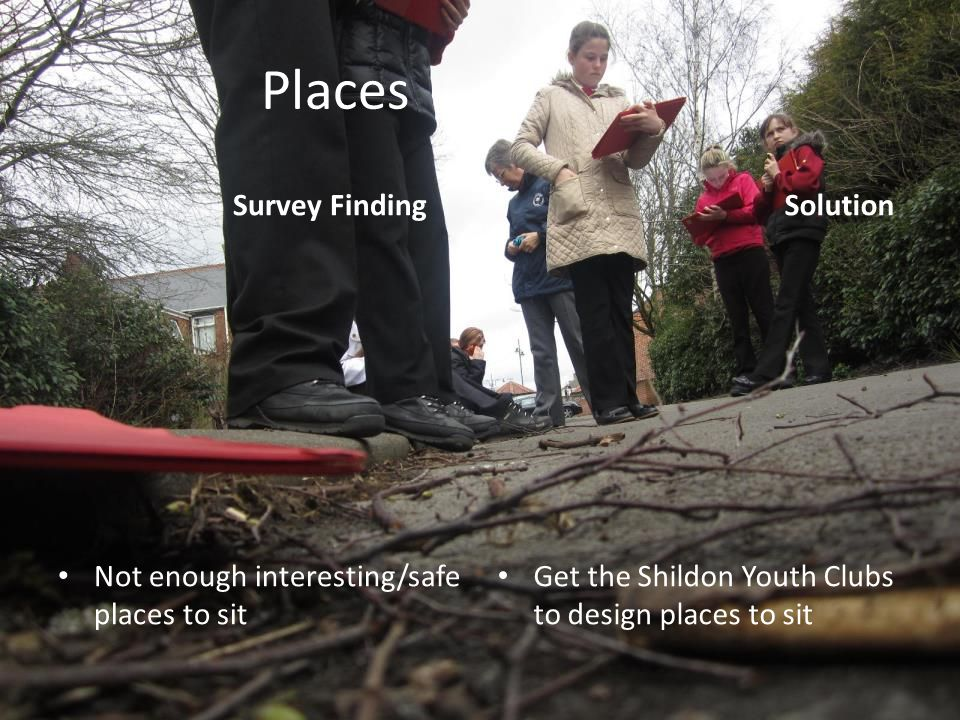 Places Survey Finding Not enough interesting/safe places to sit Solution Get the Shildon Youth Clubs to design places to sit