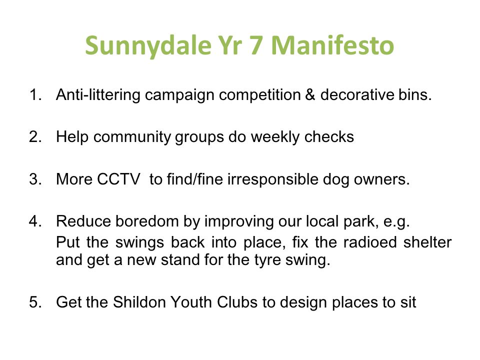 Sunnydale Yr 7 Manifesto 1.Anti-littering campaign competition & decorative bins.
