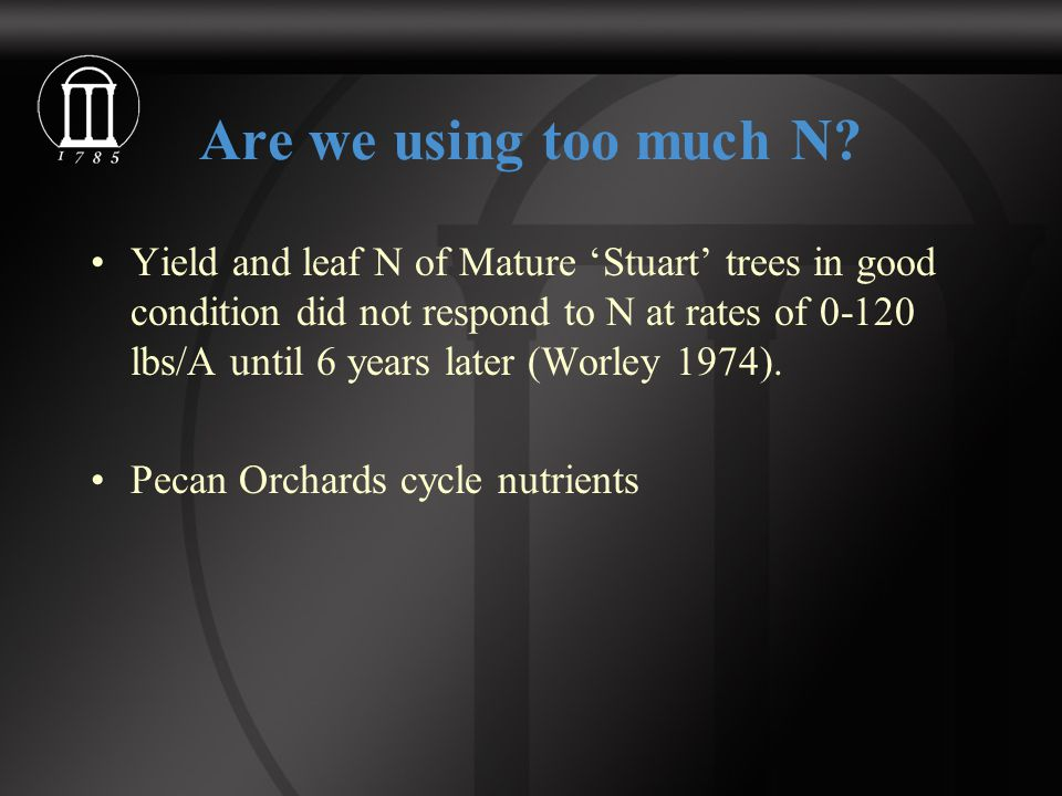 Are we using too much N? Yield and leaf N of Mature 'Stuart' trees in good condition did not respond to N at rates of 0-120 lbs/A until 6 years later