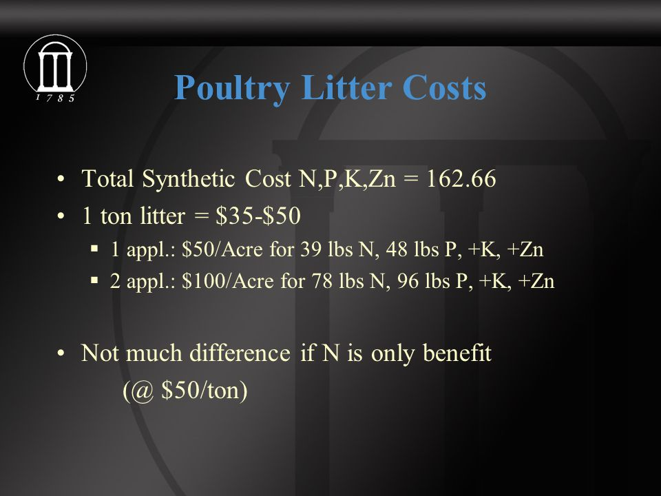 Poultry Litter Costs Total Synthetic Cost N,P,K,Zn = 162.66 1 ton litter = $35-$50  1 appl.: $50/Acre for 39 lbs N, 48 lbs P, +K, +Zn  2 appl.: $100/Acre for 78 lbs N, 96 lbs P, +K, +Zn Not much difference if N is only benefit (@ $50/ton)