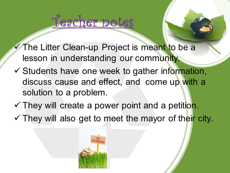 Teacher notes The Litter Clean-up Project is meant to be a lesson in understanding our community.