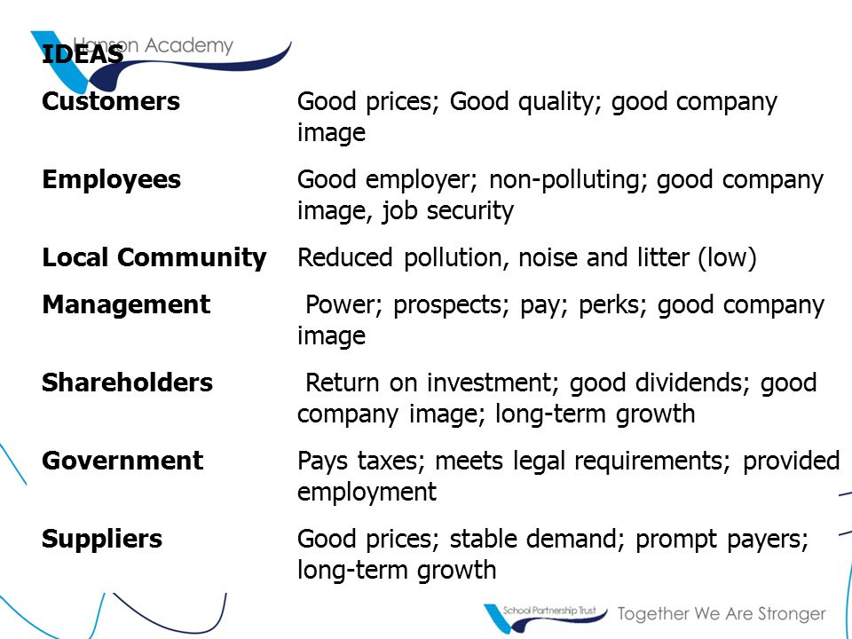 IDEAS CustomersGood prices; Good quality; good company image Employees Good employer; non-polluting; good company image, job security Local CommunityReduced pollution, noise and litter (low) Management Power; prospects; pay; perks; good company image Shareholders Return on investment; good dividends; good company image; long-term growth Government Pays taxes; meets legal requirements; provided employment SuppliersGood prices; stable demand; prompt payers; long-term growth