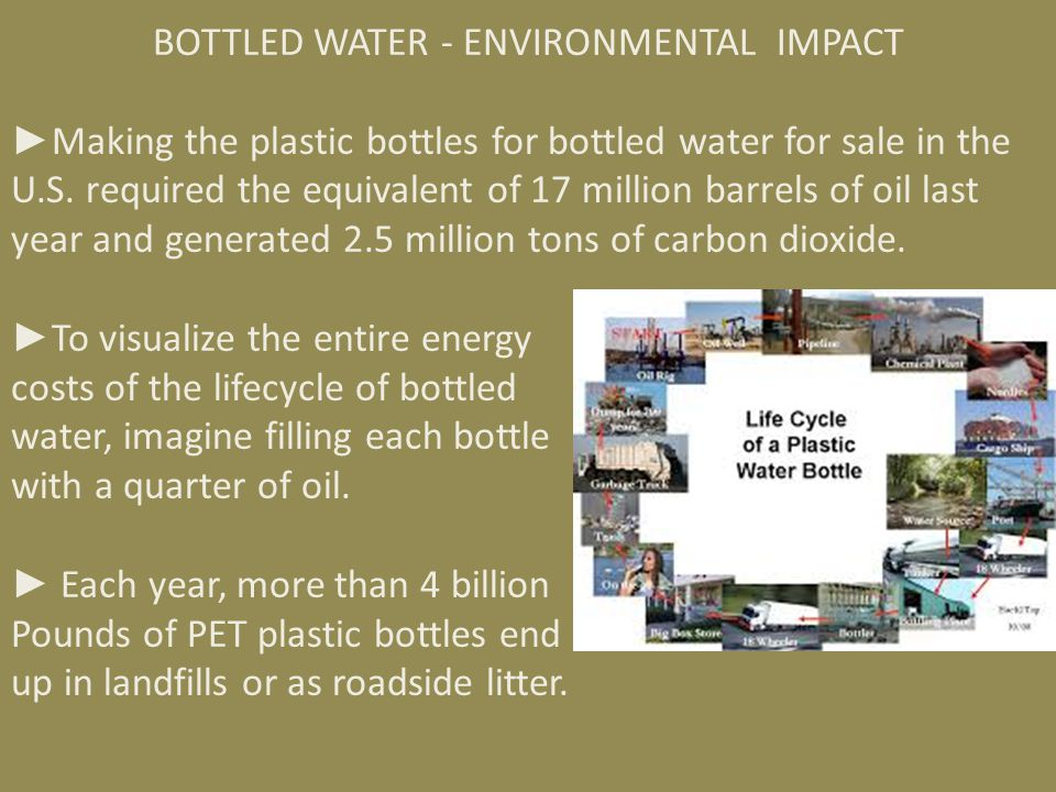 ► Less than 20% of plastic water bottles are recycled.