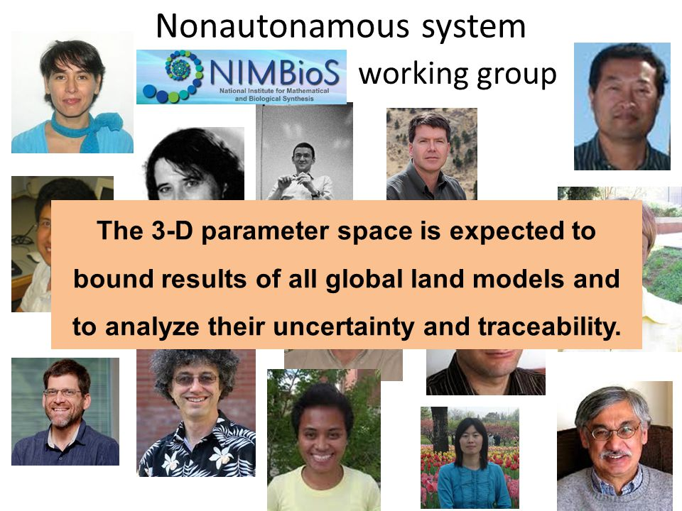 working group Nonautonamous system The 3-D parameter space is expected to bound results of all global land models and to analyze their uncertainty and traceability.
