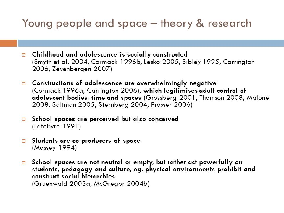 Young people and space – theory & research  Childhood and adolescence is socially constructed (Smyth et al.