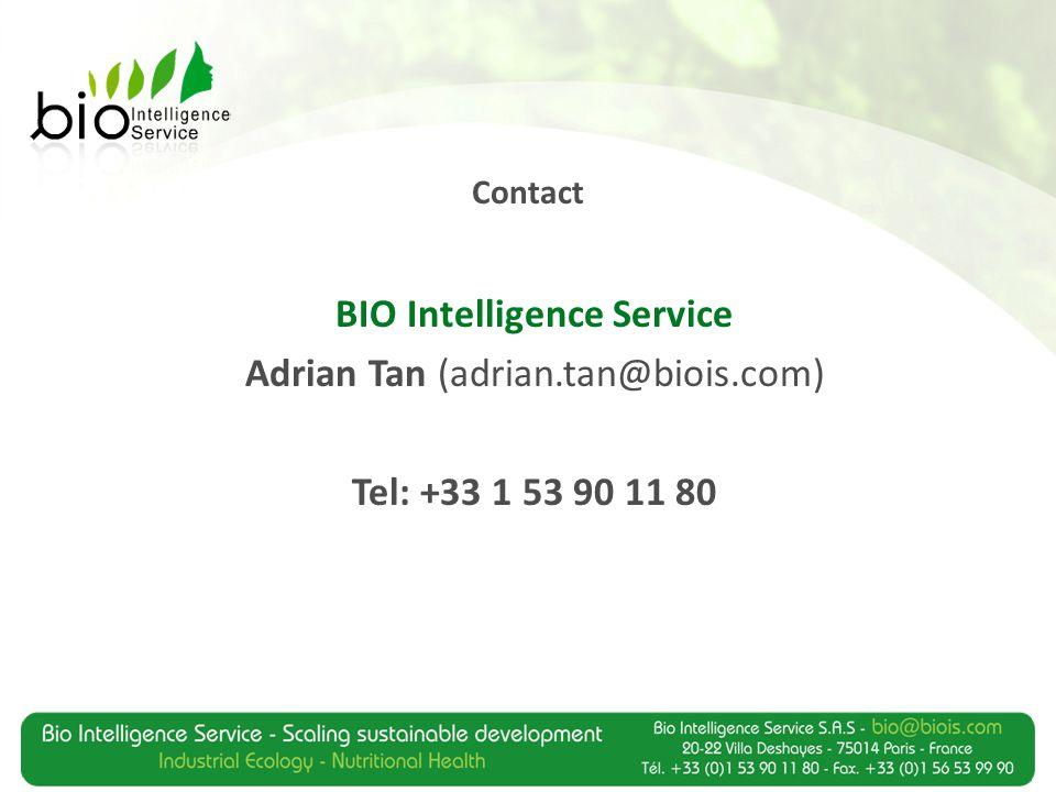 Contact 8 BIO Intelligence Service Adrian Tan (adrian.tan@biois.com) Tel: +33 1 53 90 11 80