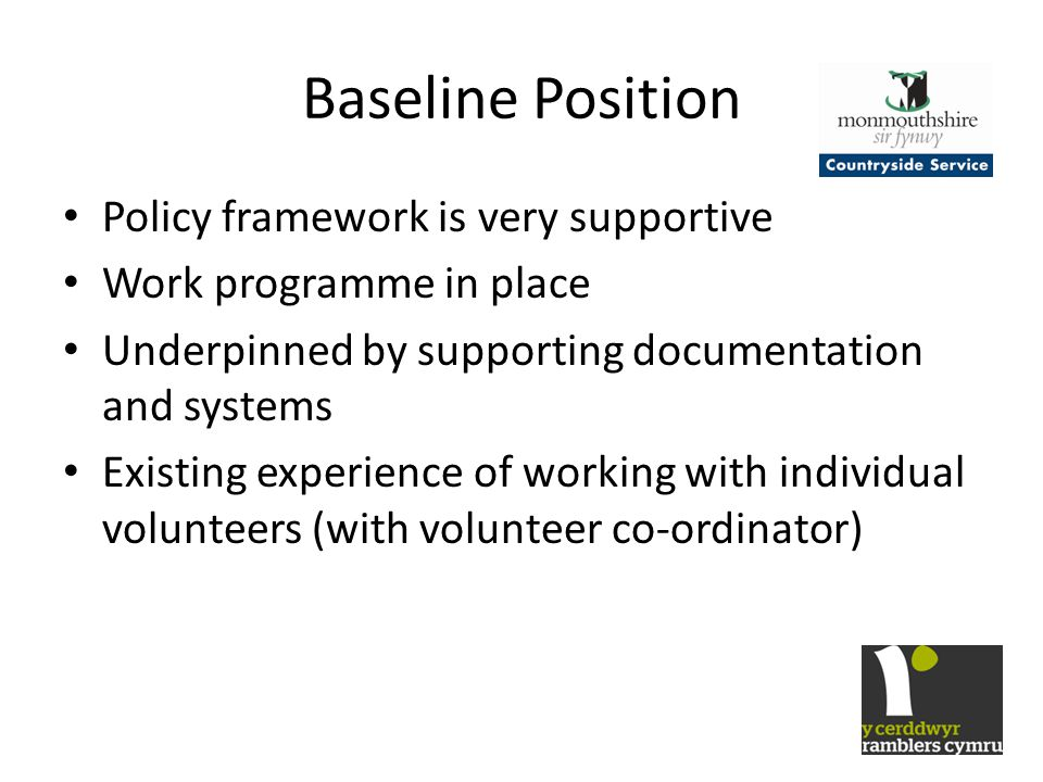 Baseline Position Policy framework is very supportive Work programme in place Underpinned by supporting documentation and systems Existing experience of working with individual volunteers (with volunteer co-ordinator)