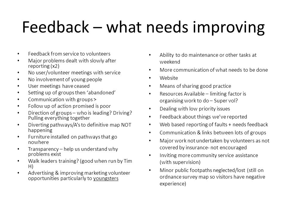 Feedback – what needs improving Feedback from service to volunteers Major problems dealt with slowly after reporting (x2) No user/volunteer meetings with service No involvement of young people User meetings have ceased Setting up of groups then 'abandoned' Communication with groups > Follow up of action promised is poor Direction of groups – who is leading.