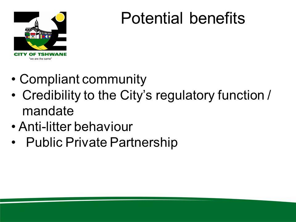 Potential benefits Compliant community Credibility to the City's regulatory function / mandate Anti-litter behaviour Public Private Partnership