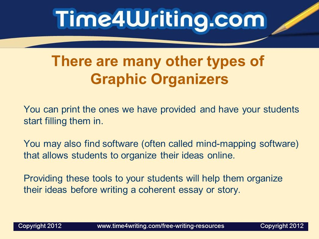 There are many other types of Graphic Organizers You can print the ones we have provided and have your students start filling them in. You may also fi