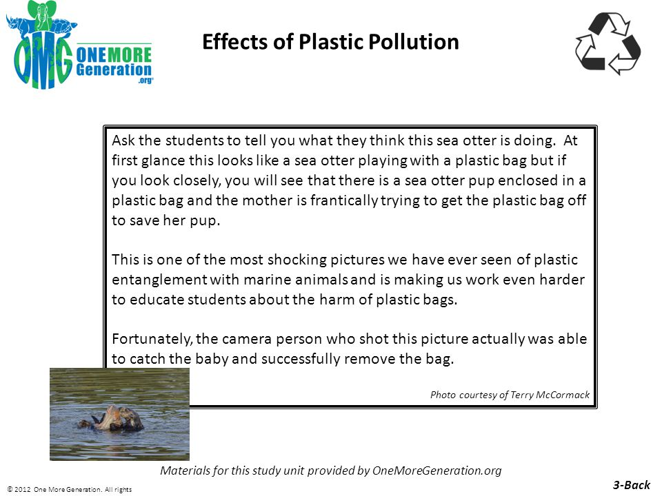 Effects of Plastic Pollution Materials for this study unit provided by OneMoreGeneration.org 9-Front © 2012 One More Generation.